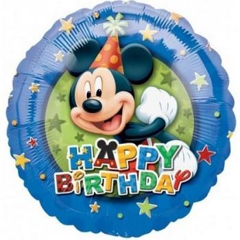 Palloncino Mylar 45 cm. Mickey Mouse Birthday Stars Border
