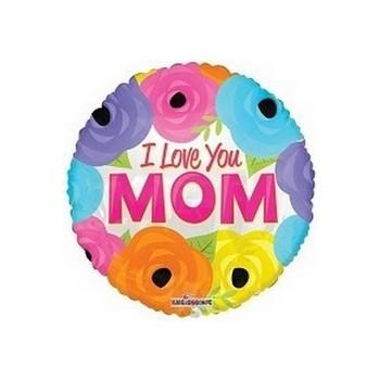 Palloncino Mylar Mini Shape 22 cm. I Love You Mom Bright Flowers