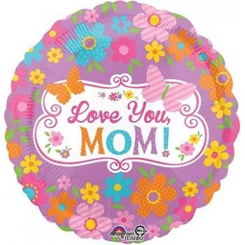 Palloncino Mylar Jumbo 71 cm. Love Mom Flowers & Butterflies