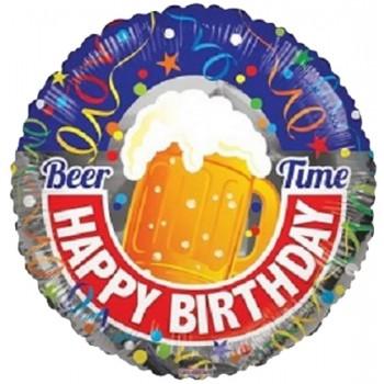 Palloncino Mylar 45 cm. Beer Happy Birthday Time