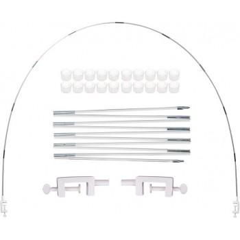 Semi arco con 2 clip regolabili per diverse dimensioni del tavolo. Lunghezza max 365 cm