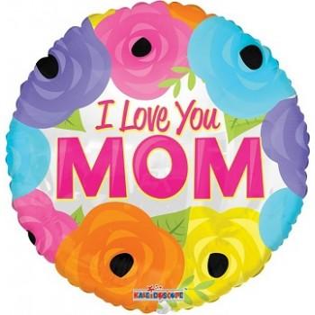 Palloncino Mylar Jumbo 91 cm. I Love You Mom Bright Flowers