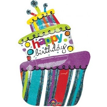 Palloncino Mylar Super Shape 93 cm. Funky Birthday Cake Holographic
