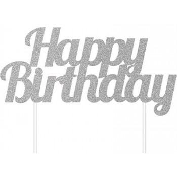 Decorazione Happy Birthday Argento glitterato 15 x 17 cm