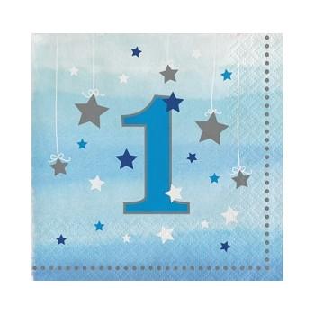 Coordinato Primo Compleanno Bimbo One Little Star Boy - Tovagliolo 25x25 cm. - 16 pz.