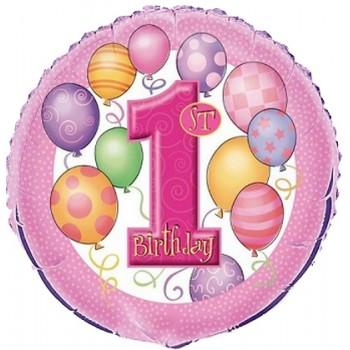Palloncino Mylar 45 cm. First Birthday 1° Pink