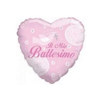 Palloncino Mylar Mini Shape 25 cm. Il mio Battesimo Rosa
