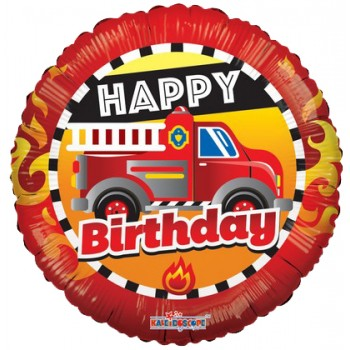 Palloncino Mylar 45 cm. Birthday Fire Truck