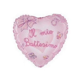 Palloncino Mylar Mini Shape 25 cm. Battesimo Rosa