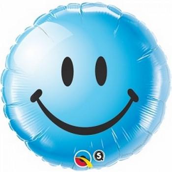 Palloncino Mylar 45 cm. Blue Smiley Face