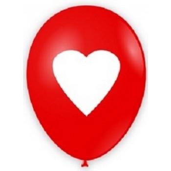 Palloncino in Lattice Rotondo 30 cm. Stampa Rosso Cuore Bianco