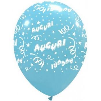 Palloncino in Lattice Rotondo 30 cm. Stampa Auguri Azzurro