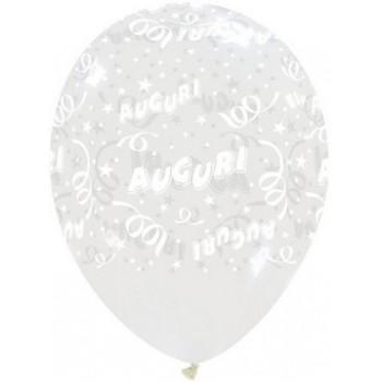 Palloncino in Lattice Rotondo 30 cm. Stampa Auguri Trasparente