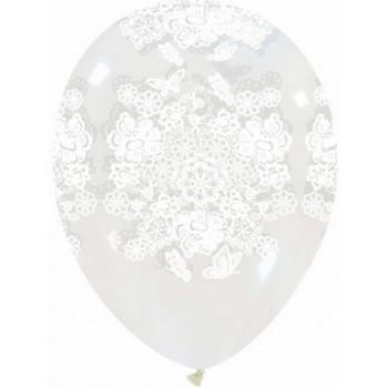 Palloncino in Lattice Rotondo 30 cm. Stampa Merletto
