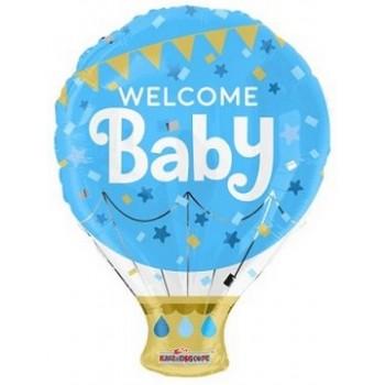 Palloncino Mylar 45 cm. Boy - Welcome Baby Blu