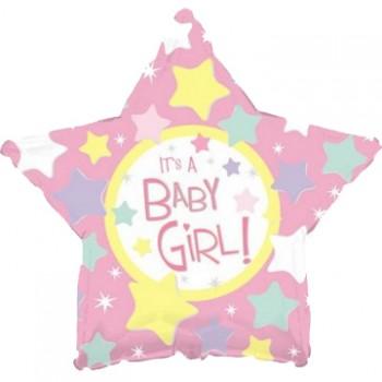 Palloncino Mylar 45 cm. Girl - It's a Girl Pink Star