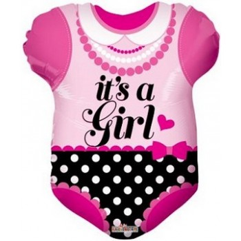 Palloncino Mylar 45 cm. Girl - Pink Baby Clothes Shape
