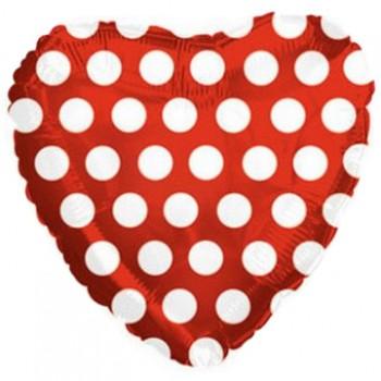 Palloncino Mylar 45 cm. C. Pois Red White Heart