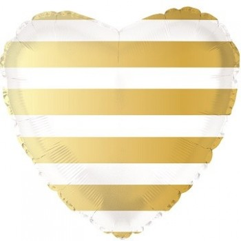Palloncino Mylar 45 cm. C. Strisce Gold Heart
