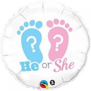 Palloncino Mylar 45 cm. Gender - He or She Footprint