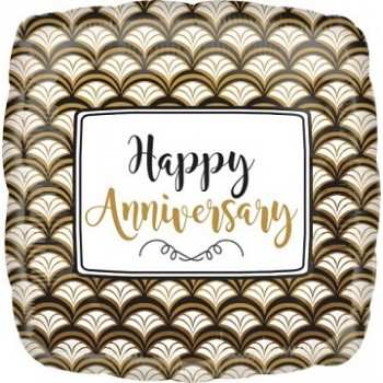 Palloncino Mylar 45 cm. Anniversary Gold Scallop