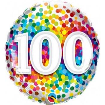 Palloncino Mylar 45 cm. 100° Rainbow Confetti