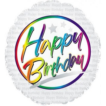 Palloncino Mylar 45 cm. R - Birthday Rainbow