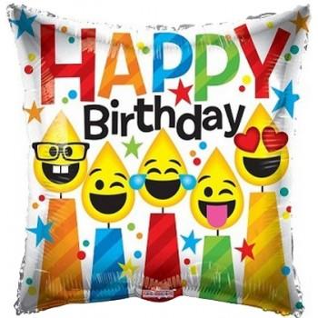 Palloncino Mylar 45 cm. Q - Birthday Smiling Candles