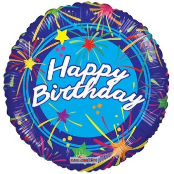 Palloncino Mylar 45 cm. R - Happy Birthday Shinny Stars