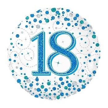 Palloncino Mylar 45 cm. 18° Sparkling Fizz Birthday Blue Holographic