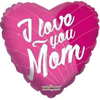 Palloncino Mylar 45 cm. I Love You Mom Pink