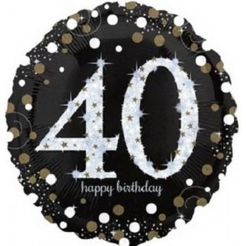 Palloncino Mylar 45 cm. 40° Age Sparkling Bday