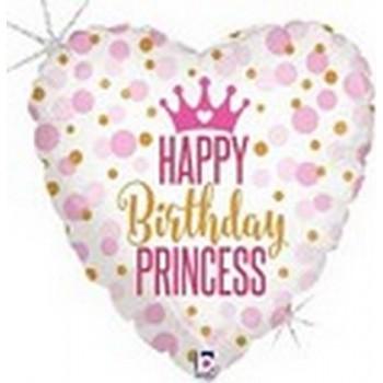Palloncino Mylar 45 cm. C - Glitter Birthday Princess