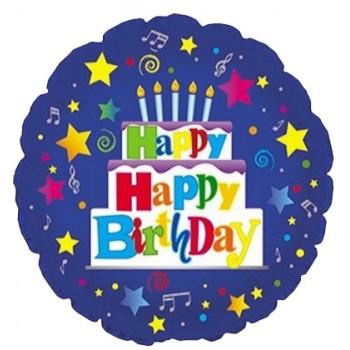 Palloncino Mylar 45 cm. R - Happy Birthday Blue Cake