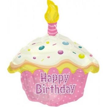 Palloncino Mylar 45 cm. T - Birthday Pink Cupcake Shape