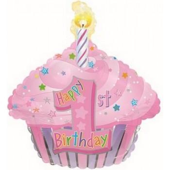 Palloncino Mylar 45 cm. 1° Birthday Pink