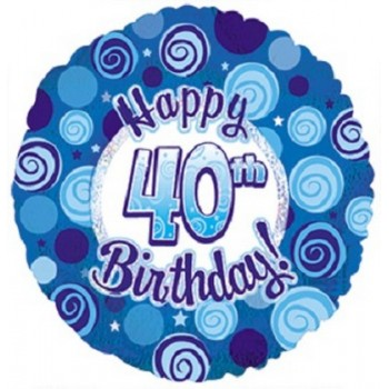 Palloncino Mylar 45 cm. 40° Happy Birthday Blue Dazzeloon