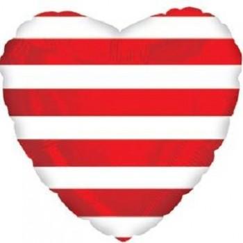Palloncino Mylar 45 cm. C. Strisce Red Heart