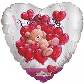 Palloncino Mylar 45 cm. Bear Over Hearts