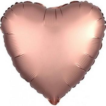 Palloncino Mylar 45 cm. Cuore Satinato Rosa Antico