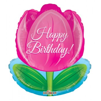 Palloncino Mylar 45 cm. F - Happy Birthday Tulip