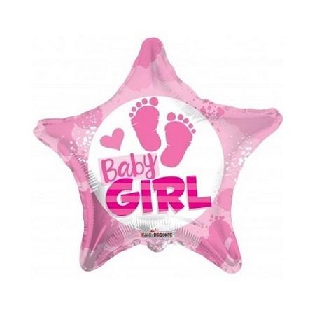 Palloncino Mylar 45 cm. Girl - Baby Girl Footprints