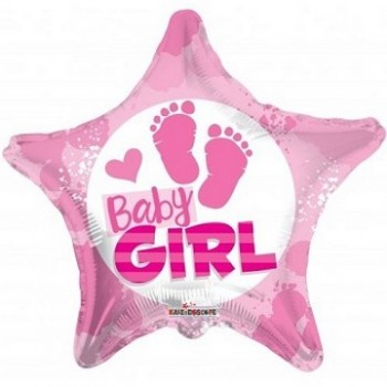 Palloncino Mylar Jumbo 91 cm. Baby Girl Plaid Flower