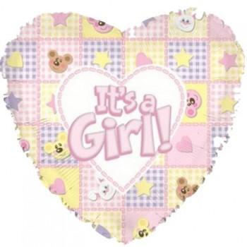 Palloncino Mylar 45 cm. Girl - It's a Girl Bear and Bunnies