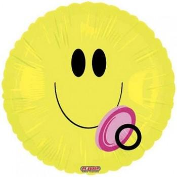 Palloncino Mylar 45 cm. Girl - Smiley Face Baby Girl Pacifier