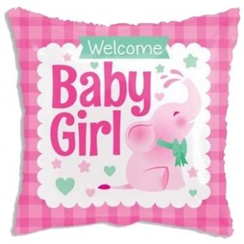 Palloncino Mylar 45 cm. Girl - Square Baby Girl Little Elephant