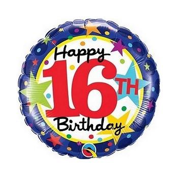 Palloncino Mylar 45 cm. Happy 16th Birthday