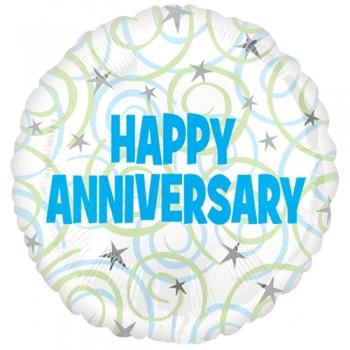 Palloncino Mylar 45 cm. Happy Anniversary Swirls