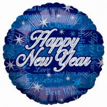 Palloncino Mylar 45 cm. Happy New Year Blue Sparkling Dazzle