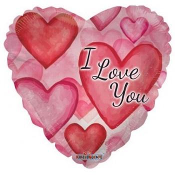 Palloncino Mylar 45 cm. I Love You Watercolor Hearts